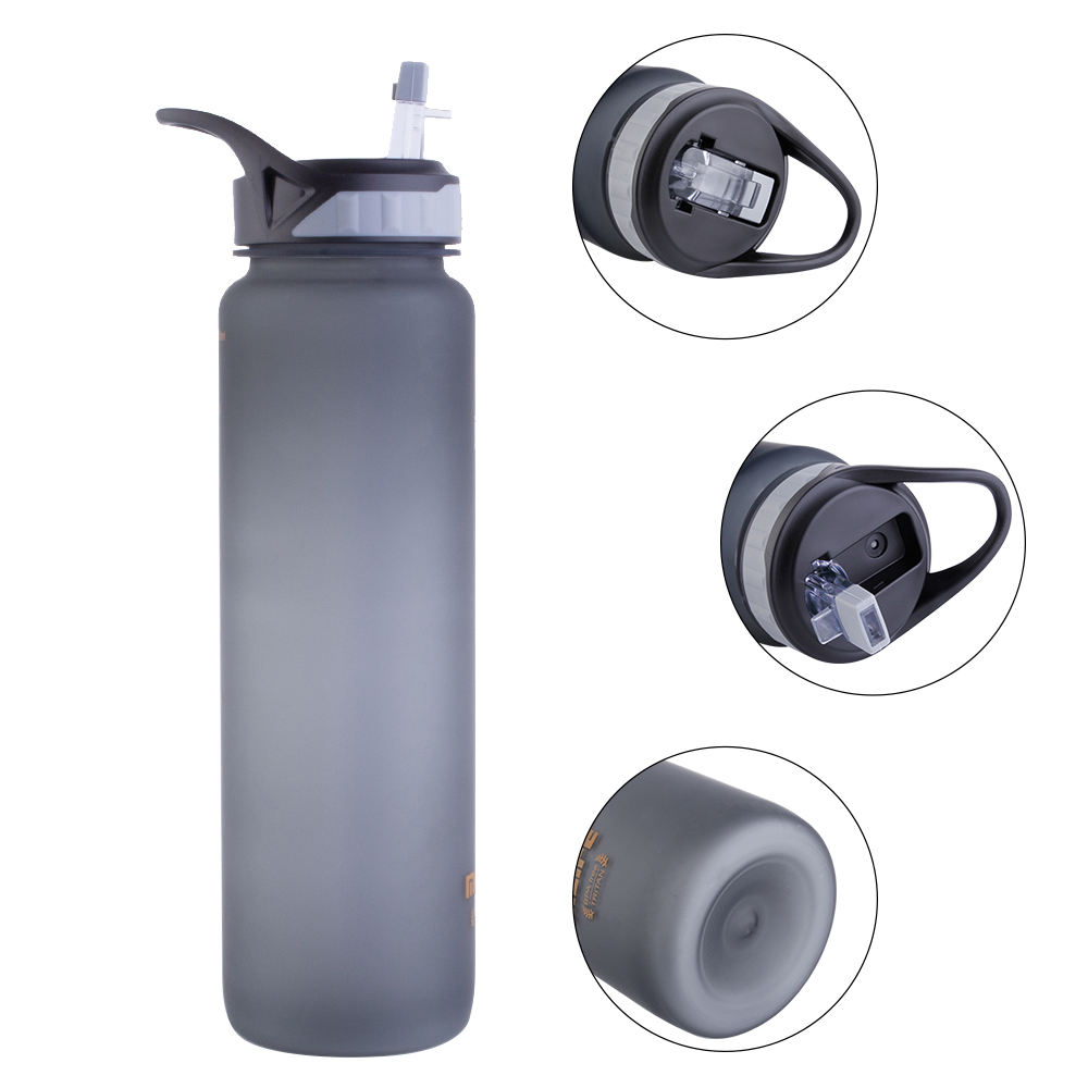 1000 ML custom logo bpa free leak proof plastic tritan motivational water bottle with straw