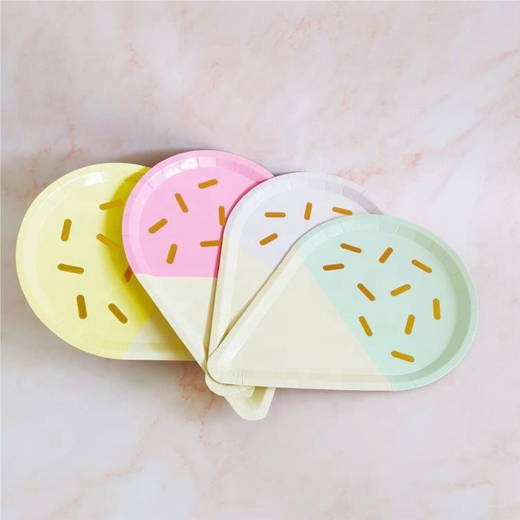 Amazon Disposable Paper Plates Children's Birthday Party Supplies Ice Cream Shape Paper Plates