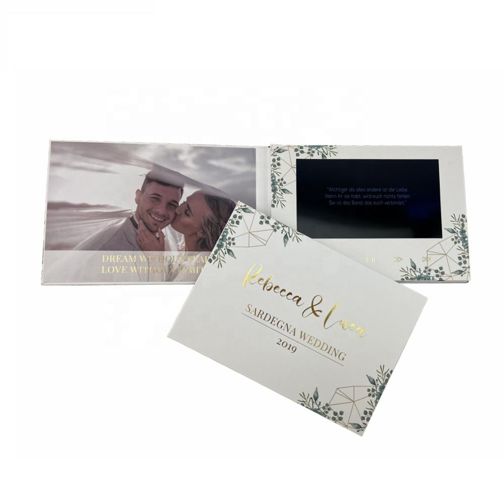 Cote 7.0 zoll Lcd Screen Hardcover Wedding Favors Invitation Video Card With Gold Foil
