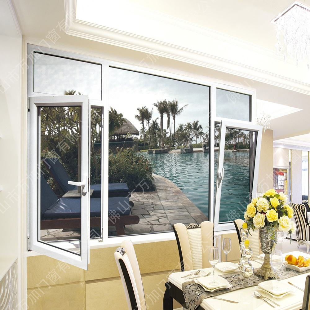 Aluminum Twin Top Hung Soundproof Awning Windows With Coated Glass