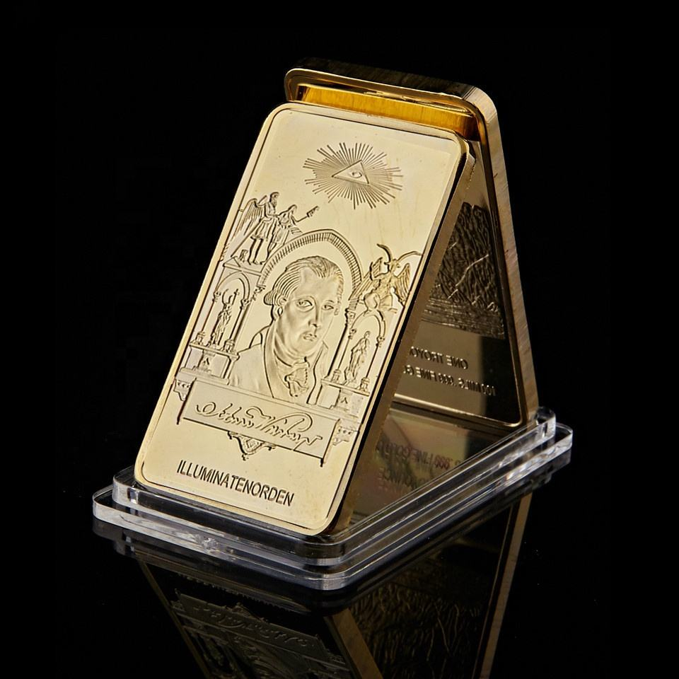 1776 World Masonic Symbol Rare Illuminati Novus Ordo Bullion Bars Gold Plated Metal Gold Bar Collectibles For Gift