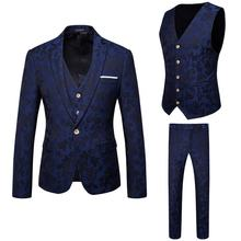 High Quality Navy Wholesale Slim Fit Mens 3 piece Groom Wedding Suits Sets