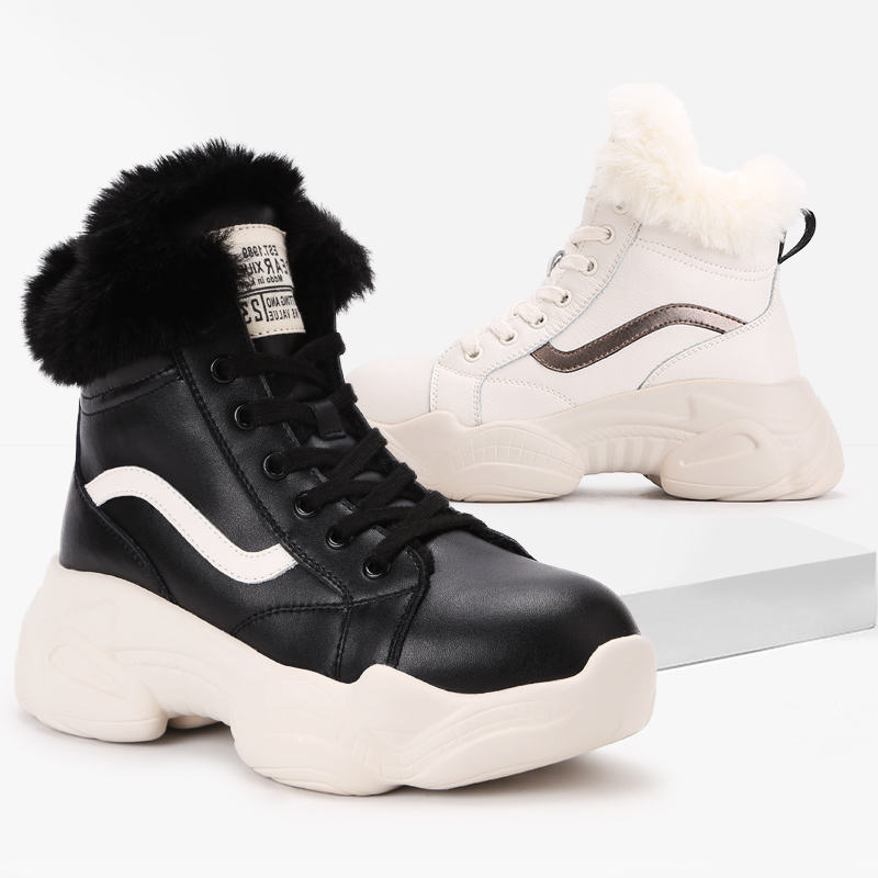 fashionable snow boot plus velvet lady cotton shoe Martin heel women booties ankle