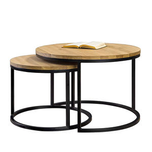 Living Room Design Furniture Classic French Dome Solid Wood Top Metal Leg Round Coffee Table Set