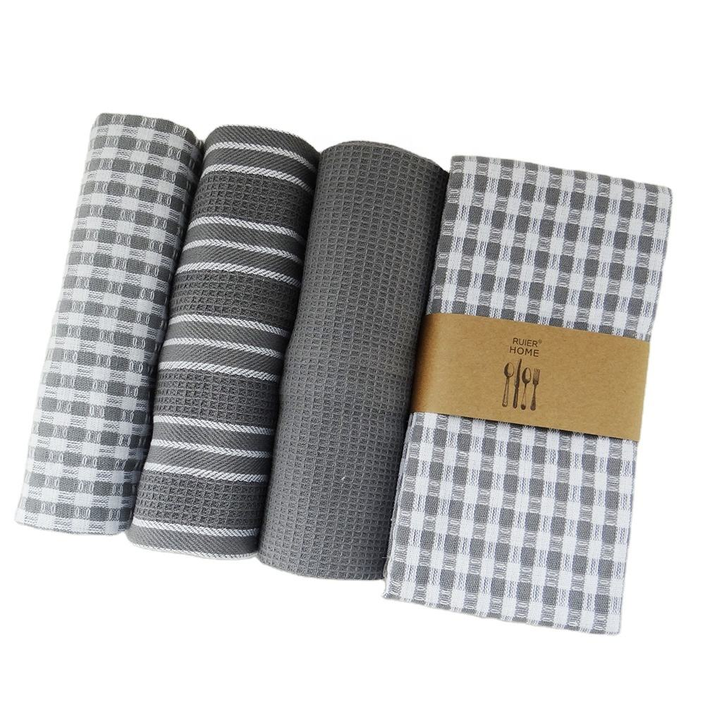 100% Cotton waffle tea Towels Trendy Stripes Dish Towels For Kitchen 44*66cm