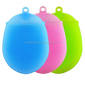Silicone Scrubbers Sponge for Cleaning and Bath -Antibacterial, Food-grade, Mildew-Free, Non Stick Dishwashing Cloth Brushes