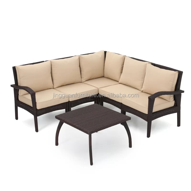 Outdoor Rattan Patio Furniture Bamboo Durable Rattan Corner Sofa Sets with Pillow