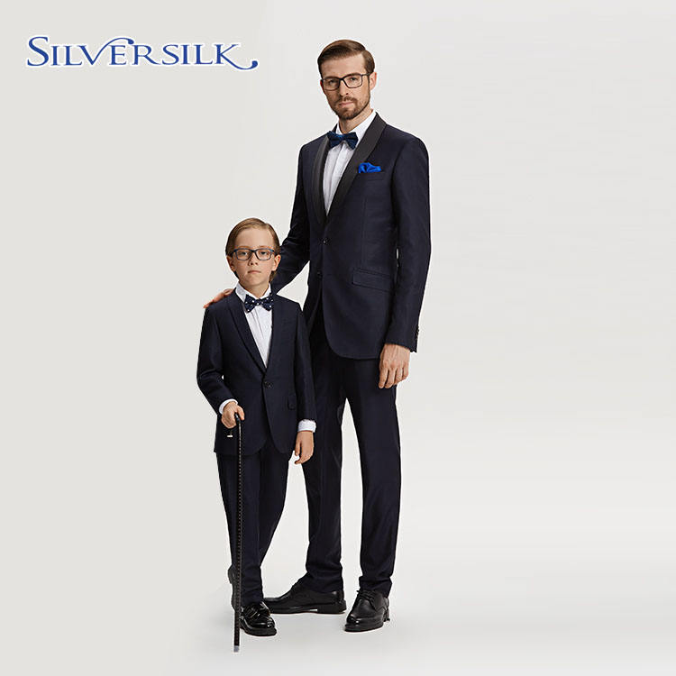 American European elegant jacket and pants adults children parentage men tuxedo suits