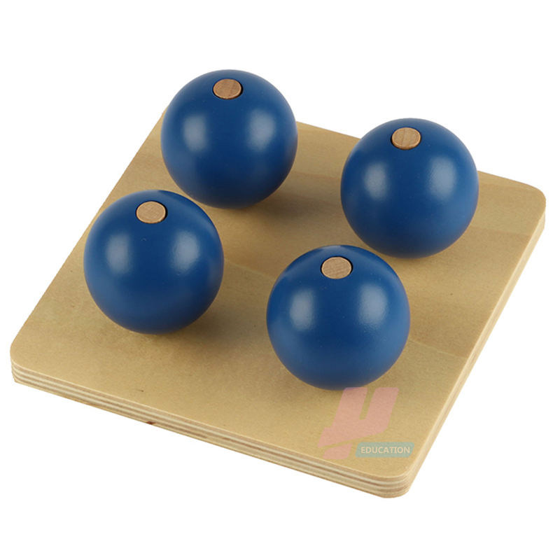 LT046 Montessori Kids Wooden Educational Children Toy Four Blue Balls On Small Pegs