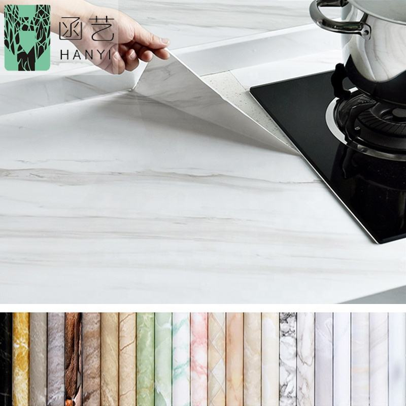 High glossy marble wall paper self adhesive vinyl waterproof wallpaper for cabinet