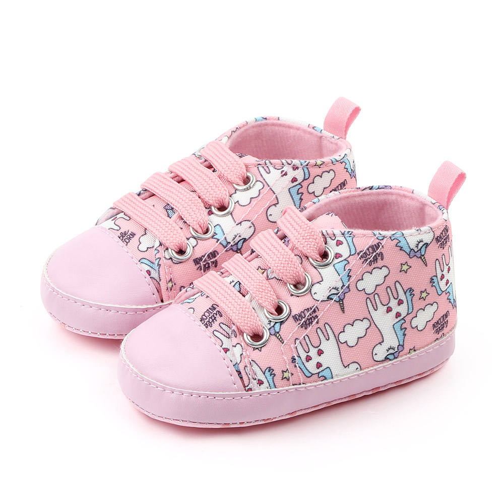 Wholesale Cute unicorn cartoon canvas fancy toddler baby girl shoes
