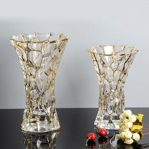 Crystal glass clear flared golden party wedding polished decorative home gift vase 30cm