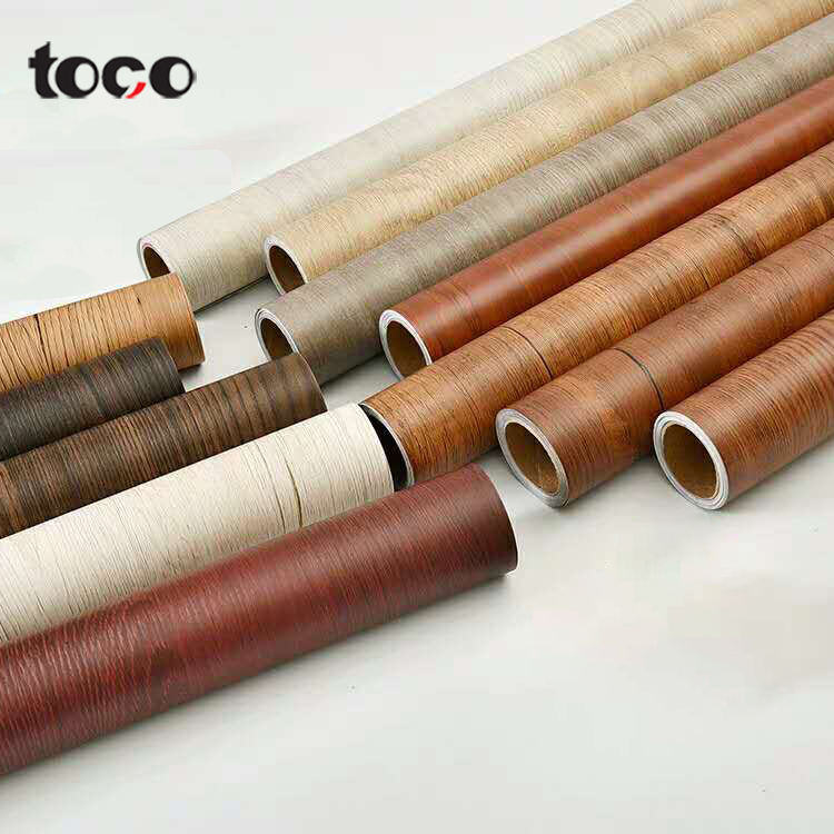 TOCO Material Grain Film Contact Paper Marble Color Furniture Decorative Wood Foil For Cabinets