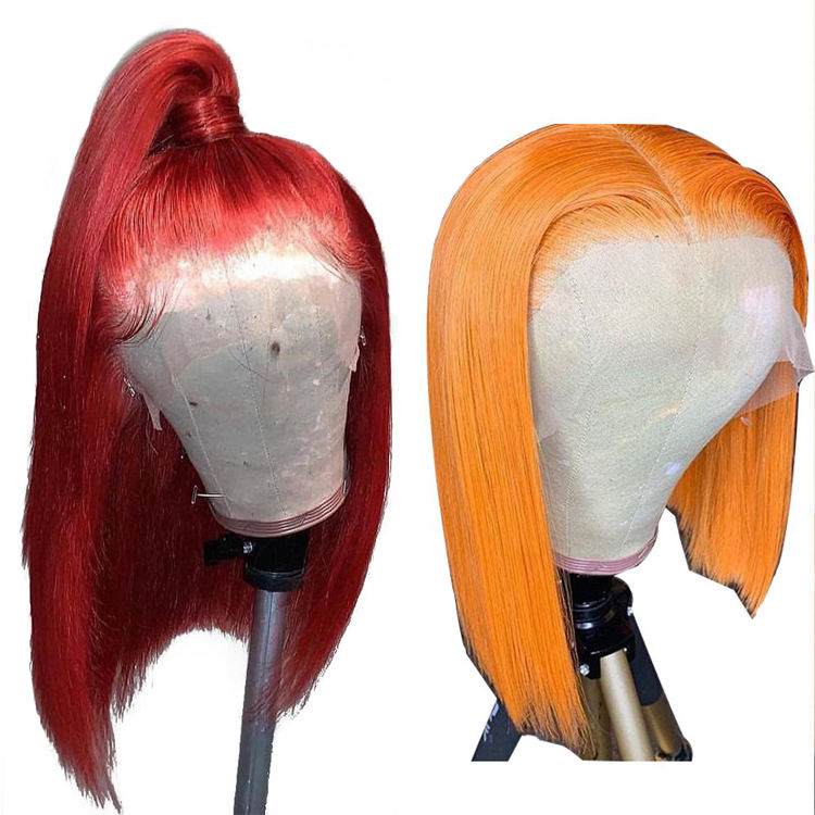 13x4 Short Bob Lace Front Human Hair Wigs Colored Virgin Hair Wigs Pre Plucked 613 Blonde Red Pink Blue Orange Yellow Hair Wigs