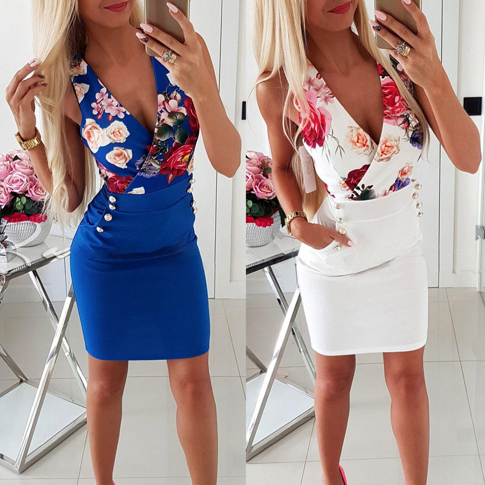 New Women Sexy V Neck Summer Casual Sleeveless Skinny Evening Party Beach Mini Dress Sundress Blue White