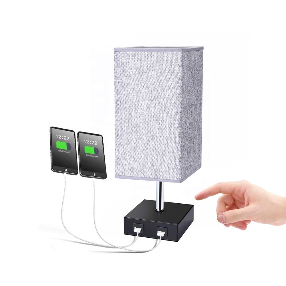 USB table lamp, Bedside lamps with 2 USB charging ports for bedroom, Nightstand lamp with Grey Fabric shade