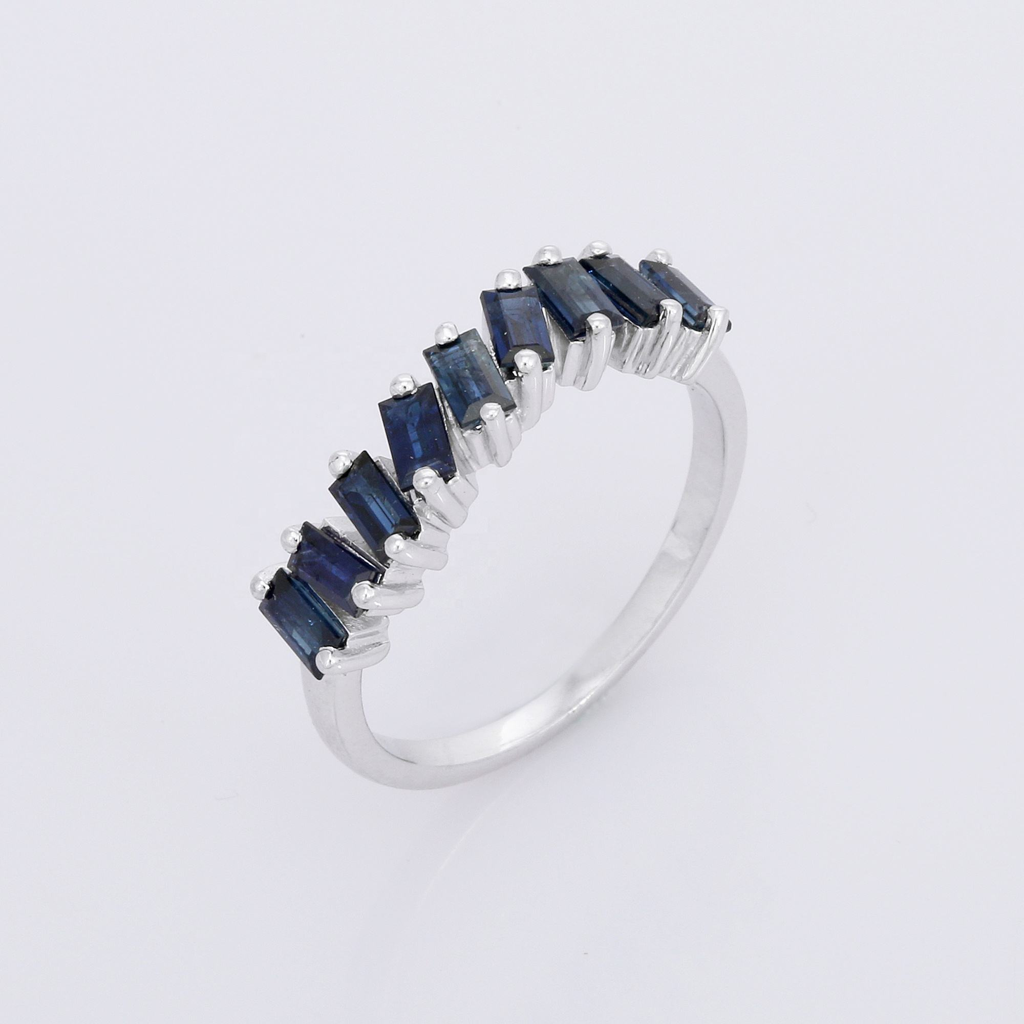 Trendy Genuine Natural Blue Sapphire Baguette Shape Eternity sterling Silver 925 Band Ring