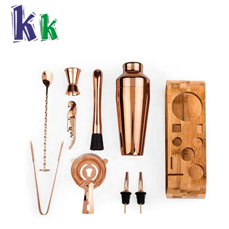 Reusable Customized Copper Bar Set Cocktail Shaker Set with Stylish Bamboo Stand