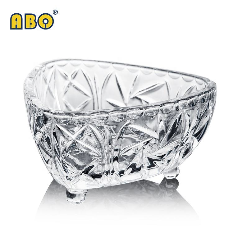19YRS Glass-trade-focused History High-class luxury footed transparent glass candy fruit dessert snack bowl