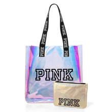 2021 Best Selling High Quality Stock Design Fast Shipping Pink LOGO Holographic Tote Shopping Bag with Logo Handle