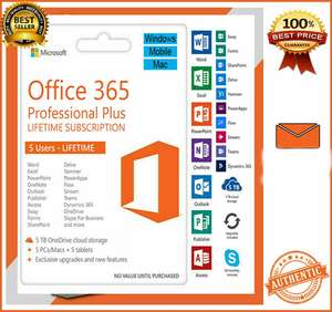 Microsoft Office 365 Pro Plus 5 Device PC/MAC/Phone Onedrive 5TB Lifetime Account Multilanguage