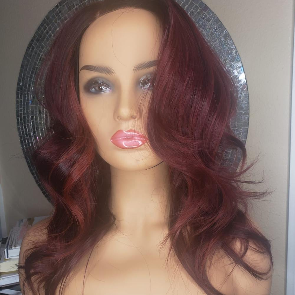 Red 28 inch human hair lace front wig,dark roots human hair blonde wigs human hair lace front,celebrity pink 9a lace front wig