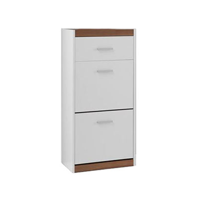 white wooden shoe storage cabinet
