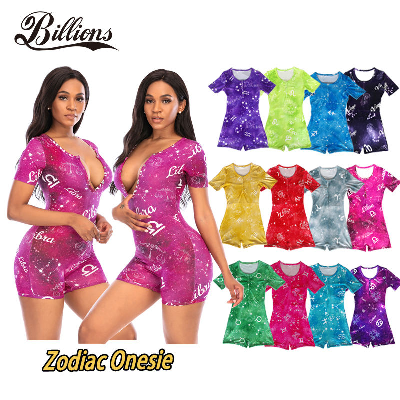 Summer Hot-selling Cheap Customized Short Sleeves Pajamas Zodiac Adult Onesie For Women