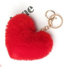 Heart Faux Rabbit Fur Ball Pom Pom keychain  heart shape fur keychain  for Car Key Ring Handbag  Pendant