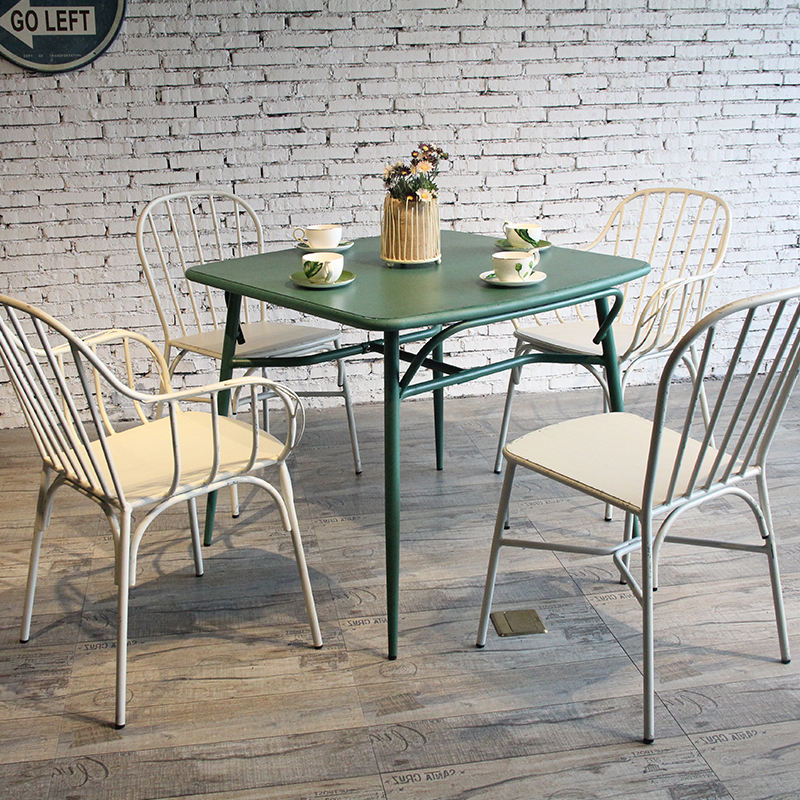 Wholesale Factory Supplier Modern Aluminium Dining Room Furniture 4 Seater Restaurant Cafe Dinner Table Set