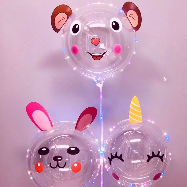 Cheap cartoon Bobo ballon 24 inches LED balloons lights up for Christmas Wedding Party Decoration flashing globos with sticks