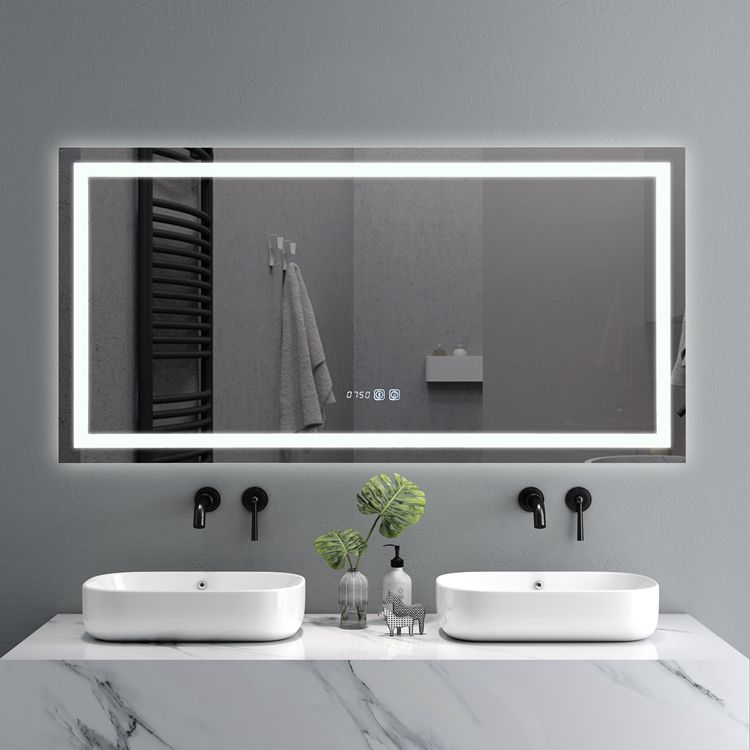 Espejo Touch Screen LED Lights Illuminated Backlit Lighted Bathroom Anti Fog Bath Smart Vanity Bluetooth Mirror With Lighting
