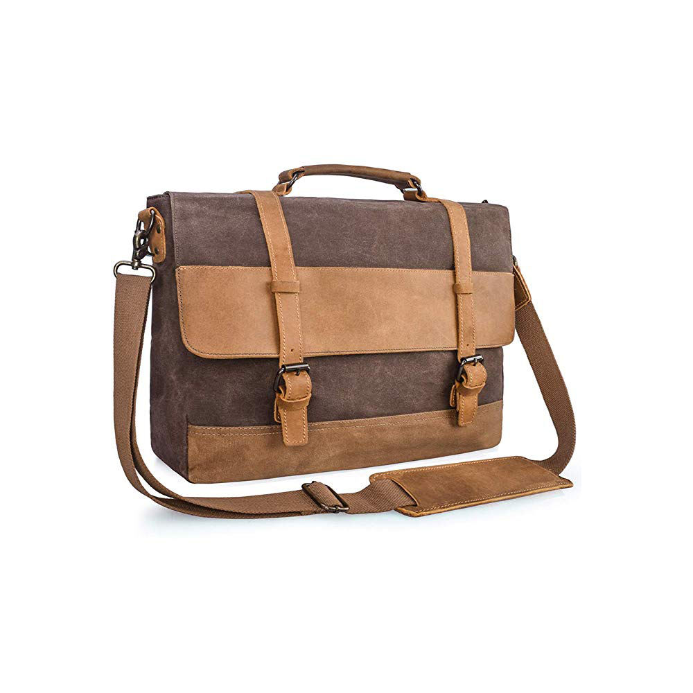 Fashion Tahan Air Vintage Wax Kanvas Pria Messenger Laptop Tote Tas