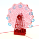 Gift Birthday Laser Cut Greeting Card 3D Laser Cut Scenic Tourist Greeting Card 15*15Cm Ferris Wheel Card Creative Gift Greeting Card Birthday With Envelope