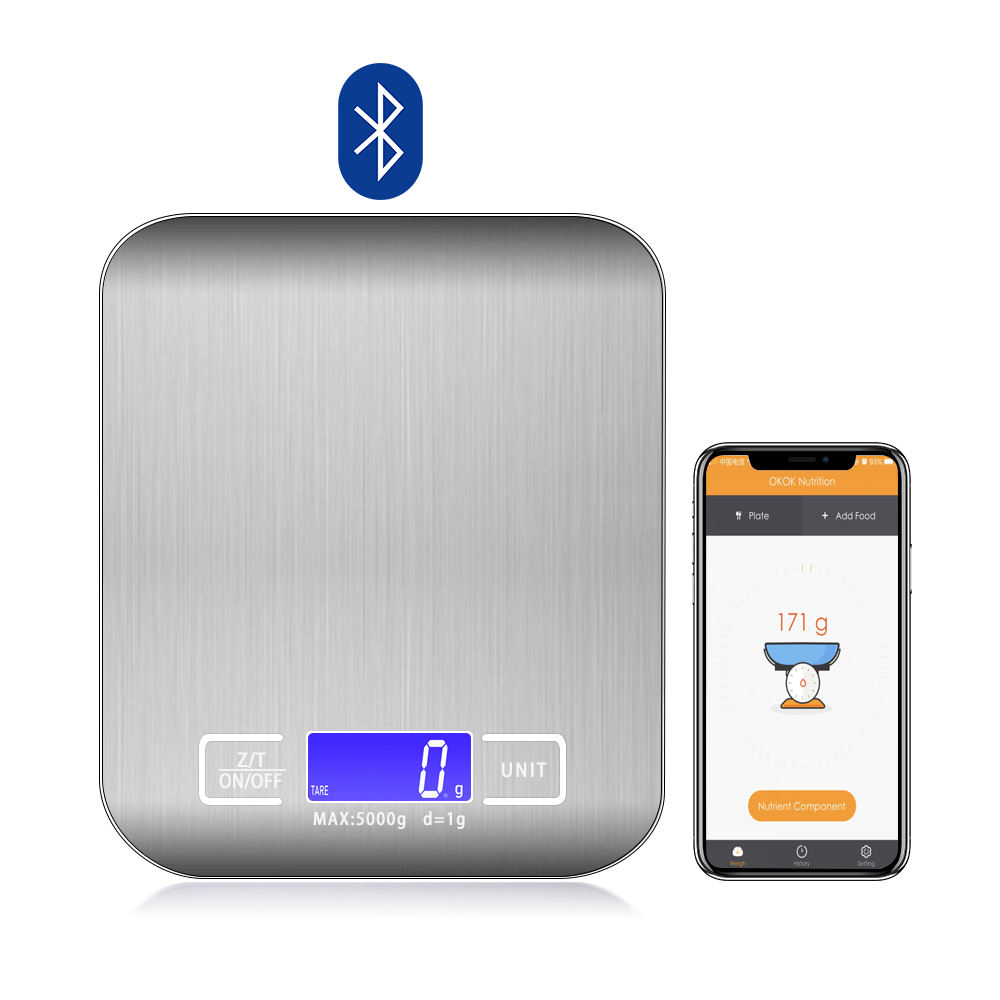 2020 Amazon Hot Bluetooth Kitchen Household Stainless Steel Multifunction Digital Kitchen Food Cook Scale with OKOK Nutrition