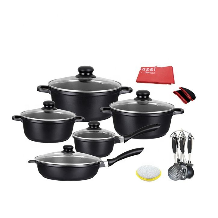 Kitchenware 21 Pcs Nonstick Induction Pots and Pans Aluminum Classic Black Cookware Set with Utensils