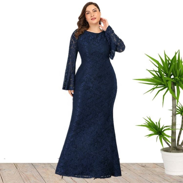 2020 High Quality Plus Size Ruffled Long Sleeve Fishtail Lace Evening Dress For Elegant Ladies