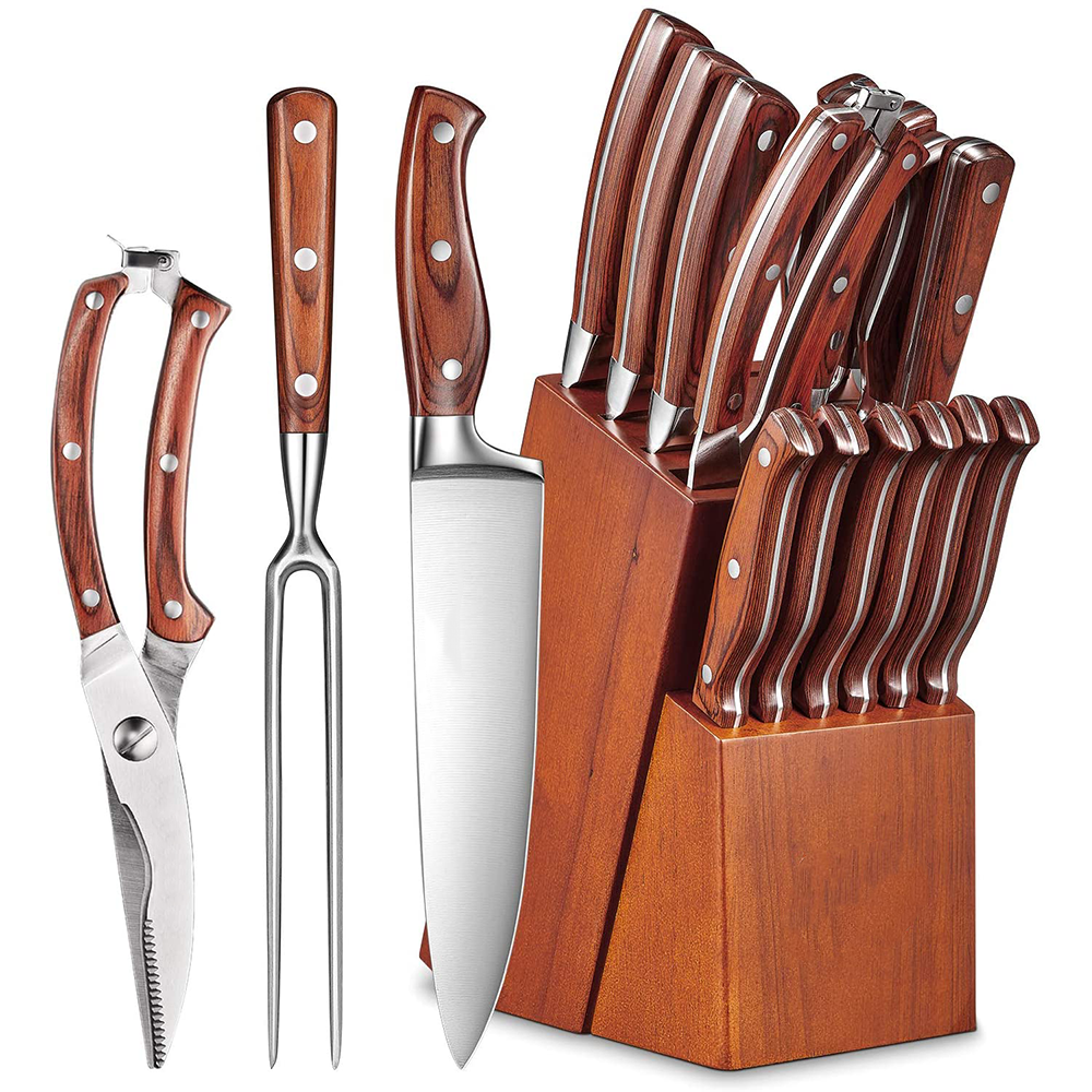 lo mas vendido German Steel Forged cooking chef knife kitchen utility knives set with wooden block of Custom logo Handle