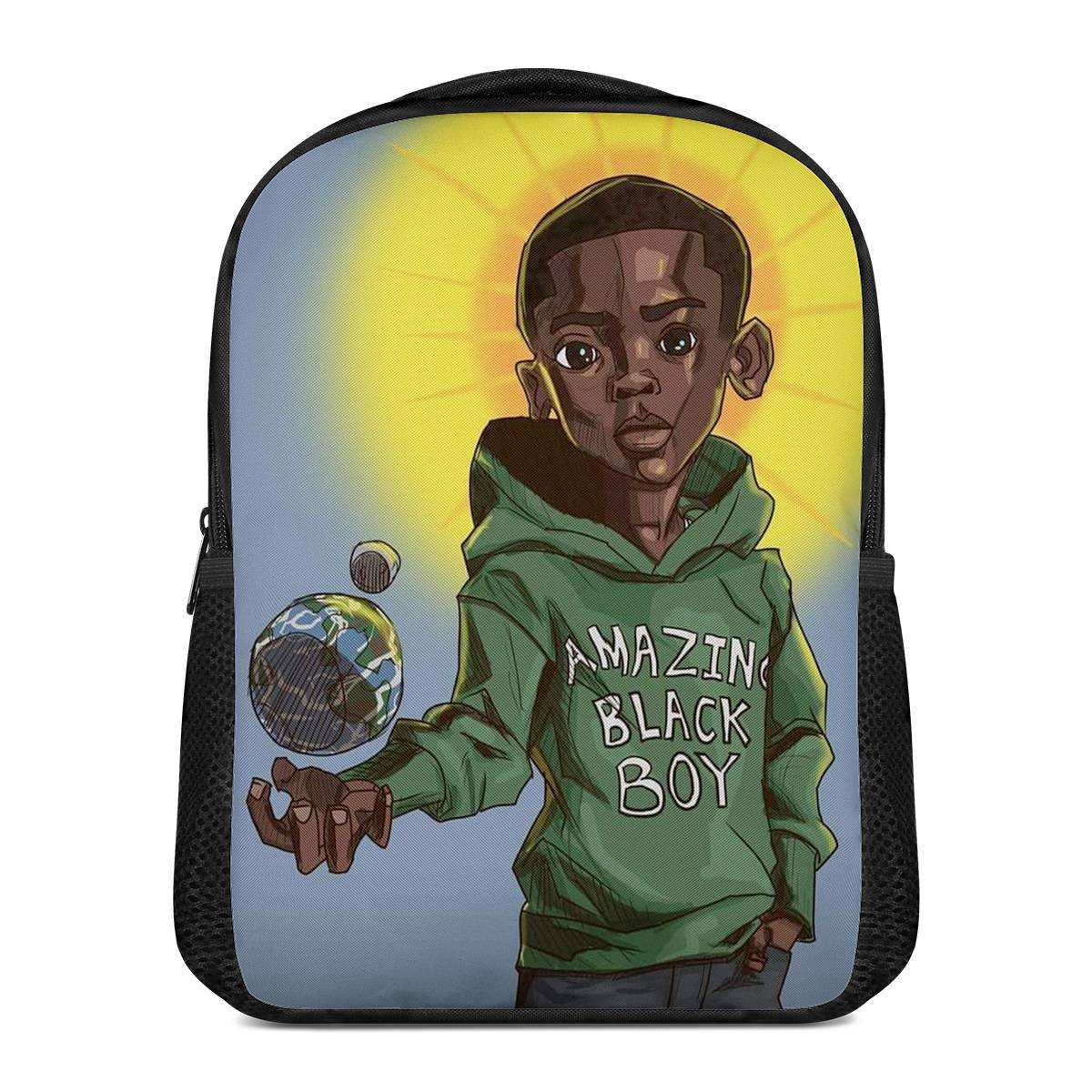 Bookbag Fits 12 Inch Book Bag Sschool Black Boy Print Backpack Afro Brown Kindergarten Kids Back Pack Custom School Bag for Boys