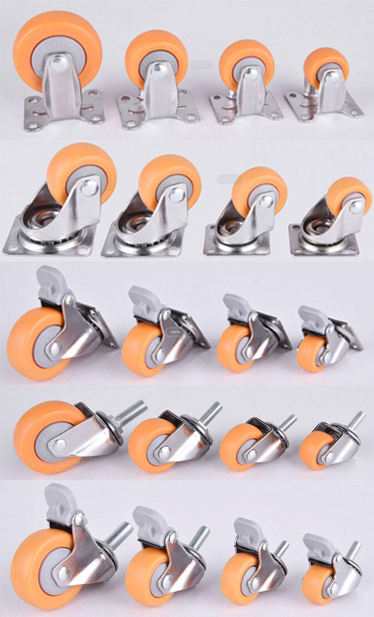 Factory furniture wheel castor chair nylon locking swivel screw chrome-plating small caster