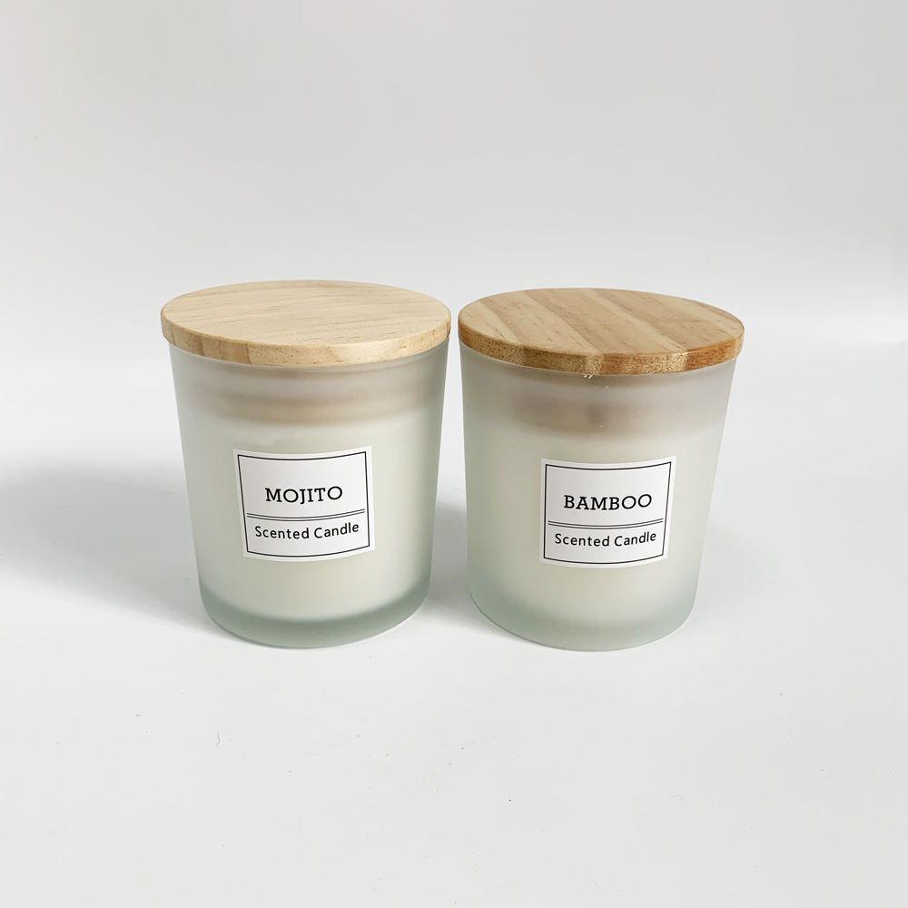 Oem scented candle jar with wooden lid