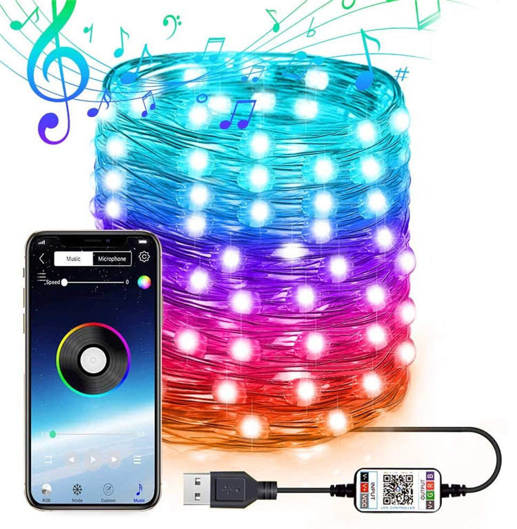 Christmas Tree Decoration Lights LED String Lights APP Sync Bluetooth Control Color Changing Fairy Lights For Xmas Tree