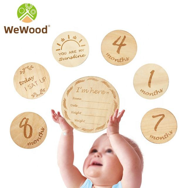 Custom Round Age Monthly Memory Card Double Sided Wooden Baby Newborn Milestone Cards