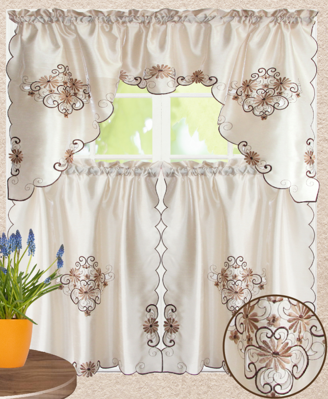 All American Collection 3pc Embroidered Home Kitchen Window Treatment Curtain Set