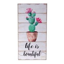 Wholesale Handmade Home Decor Ornament Customized Available  Cactus Design Wall Hanging Wood Signs