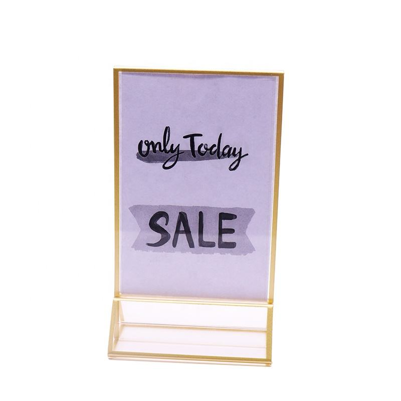 4X6 acrylic sign holder with gold borders Table Top Sign Stands menu holder Acrylic flyer stand