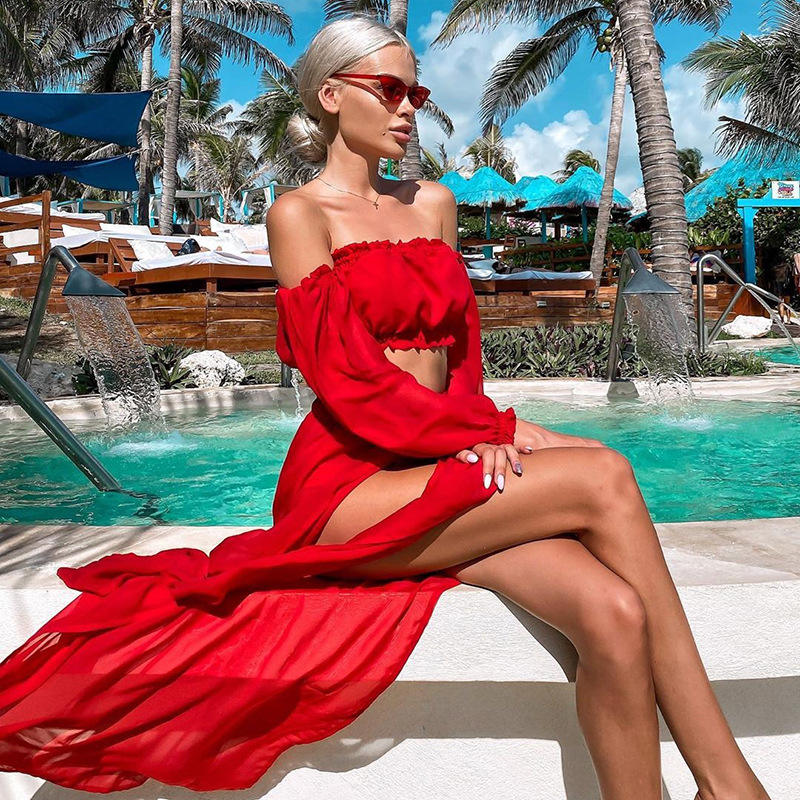 Red White Blue Colour Sexy High Cut Bikini Cover-up Deep Coolar Beautiful Long Outfits Coverups Dresses 2021 Cover Up