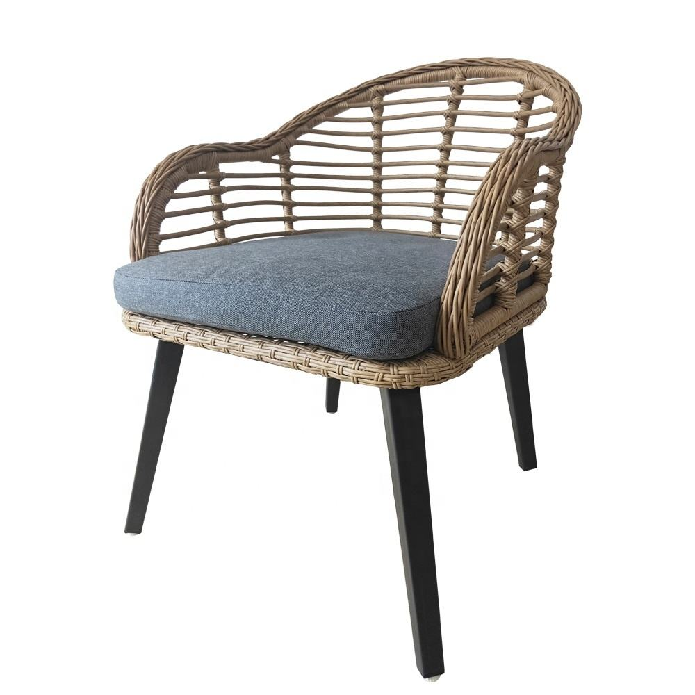 New Product Garden Sun Steel Metal Furniture with Cushion Dining Armchair Outdoor Chair
