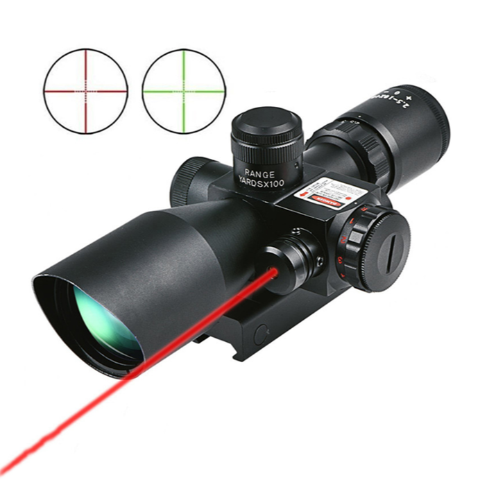 Tactische Spotting 2.5-10X40 Air Gun Rifle Scope Jacht Red Dot Laser Sight Crosshair Nachtzicht Combo scope Riflescope