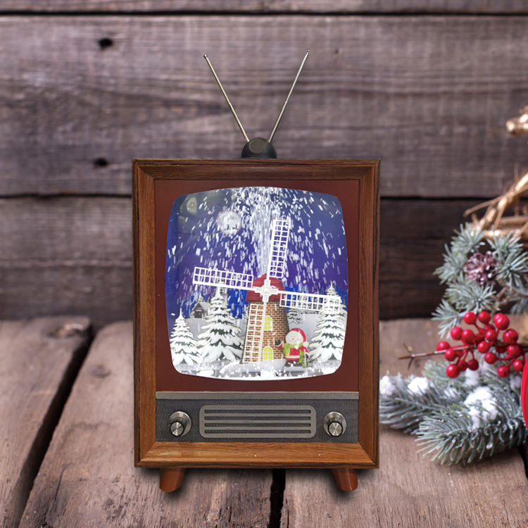 Christmas Decoration Supplies TV set Shape LED lantern Snow Scene with windmill and santa inside